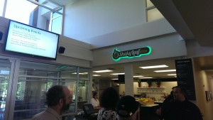 At their last stop on the tour of the Ancestry campus, Ancestry provided Shar Mansukhani and John Hilbert and their tour group with treats form the Shaky Leaf Cafe.