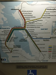 In each train car is a map displaying the entire BART system.