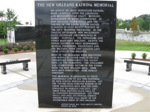 The Hurricane Katrina Memorial on Canal Street in New Orleans, Louisiana.